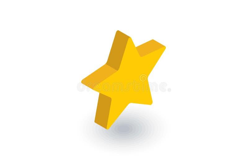 Fem-pekad stjärna, isometrisk plan symbol för bokmärke vektor 3d stock illustrationer