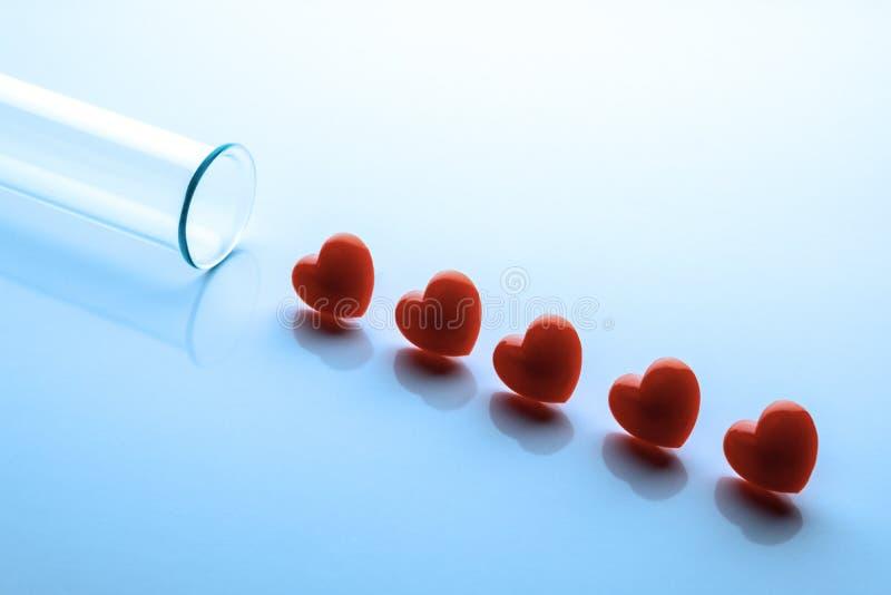 Fem röda hjärtor i rad och en läkarundersökning- eller laboratoriumexponeringsglasprovrör Tonat i blått Närbild kopiera avstånd arkivbild
