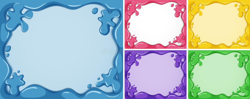 Fem rammallar i olika färger stock illustrationer