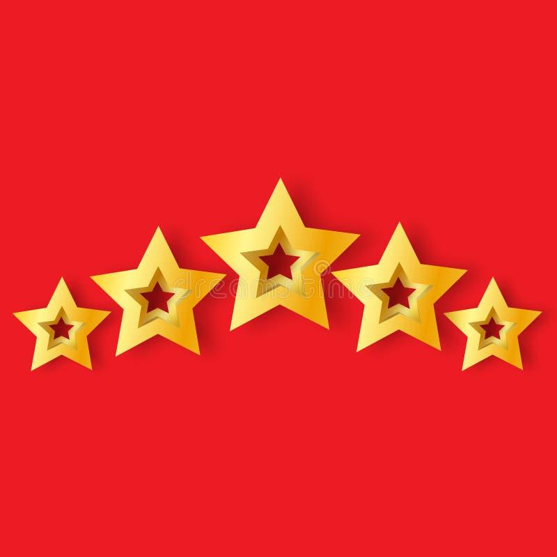 Fem realistiska guld- stjärnor för origami 3D på en röd bakgrund royaltyfri illustrationer