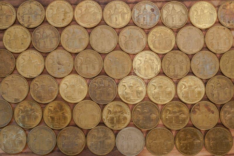 Fem RSD-dinar sorteras i det korrekta formatet arkivbild