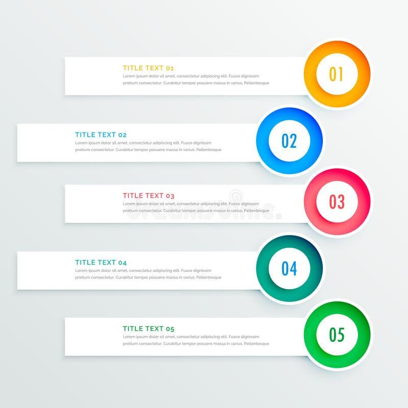 Fem runda infographic baner vektor illustrationer