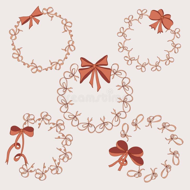 Fem runda ramar tappning för stil för illustrationlilja röd Hand drog pilbågar stock illustrationer
