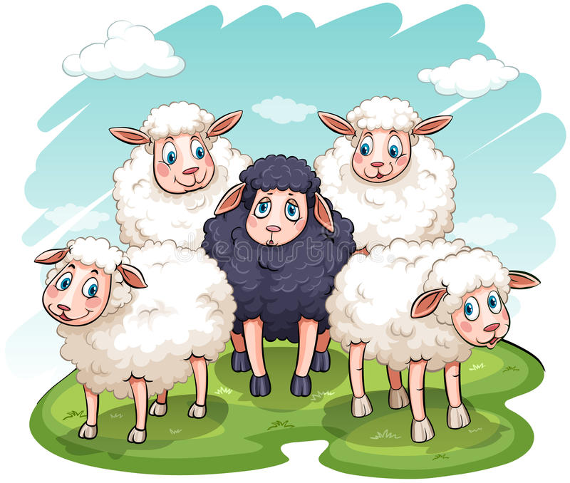 Fem sheeps stock illustrationer