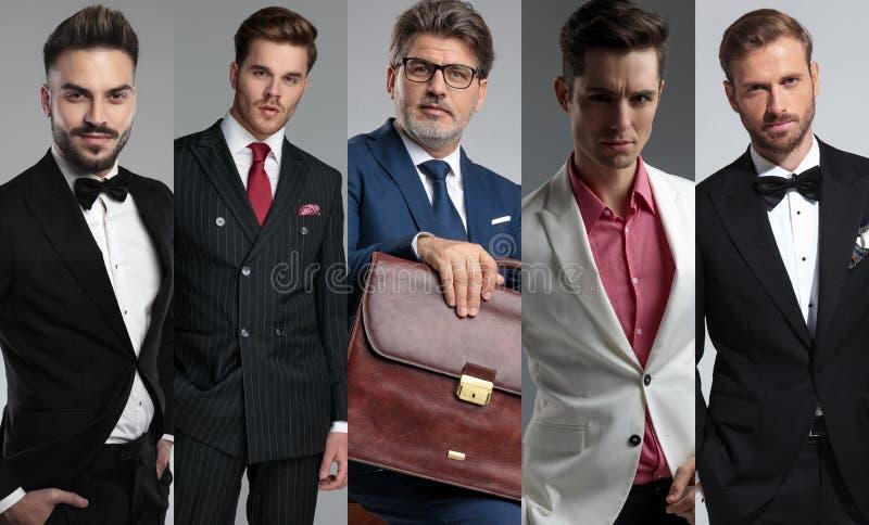 Fem stiliga mäns stående i ett collagefoto royaltyfria bilder