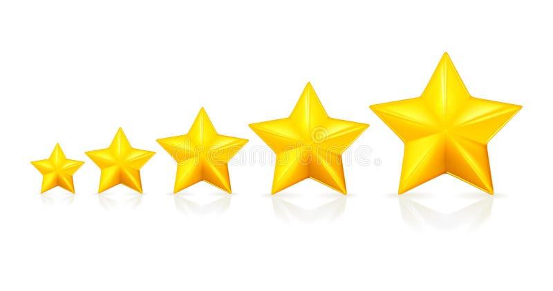 fem stjärnor stock illustrationer