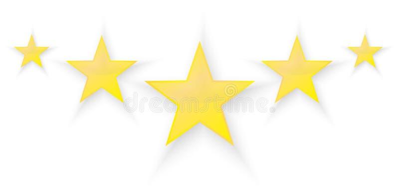 Fem stjärnor vektor illustrationer
