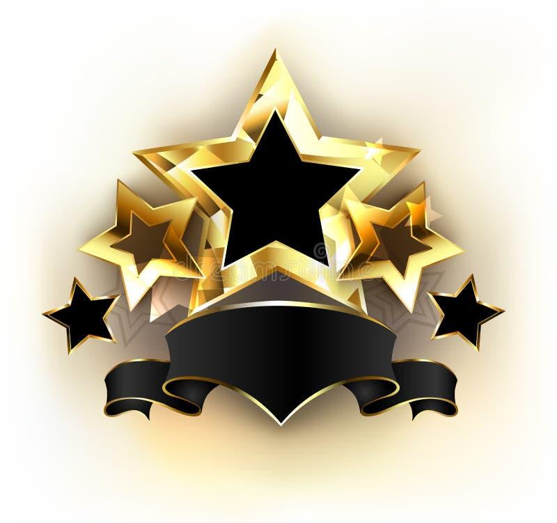 Fem stjärnor med det svarta bandet royaltyfri illustrationer