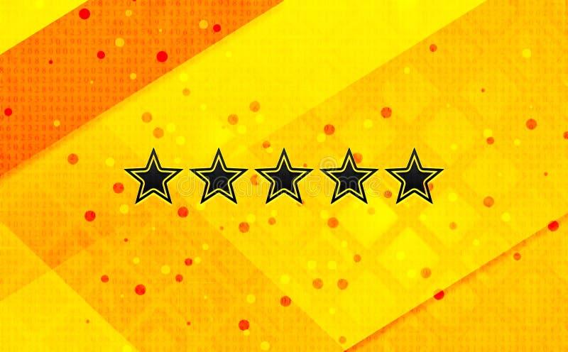Fem stjärnor som klassar bakgrund för abstrakt digitalt baner för symbol gul royaltyfri illustrationer