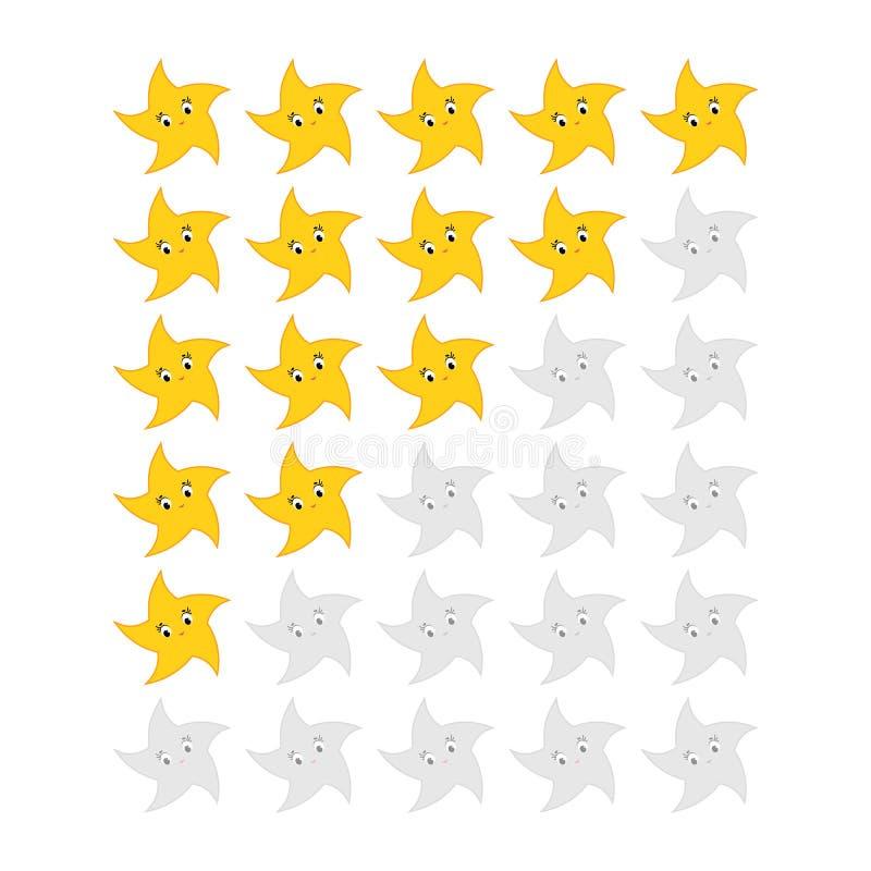 Fem stj?rnor som klassar symbolen Utvärdering av hotellet, service, produkt, kvalitet Jämna resultat eller lifes i leken för reng stock illustrationer
