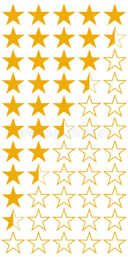 Fem 5 symboler för uppsättning för kvalitets- värdering för stjärnaprodukt, gula plana stjärnor för vektor med halva hotell och v vektor illustrationer