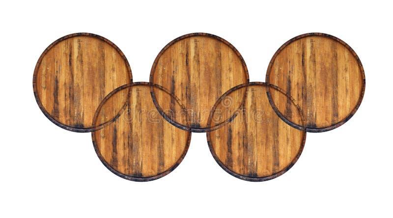 Fem trummor som isoleras på vit arkivfoto