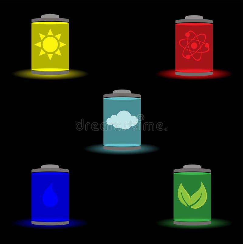 Fem typer av källor av energi royaltyfri illustrationer