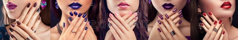 Fem typer av lilor spikar design Härlig kvinna med perfekta smink, manikyr och smycken Mode fotografering för bildbyråer