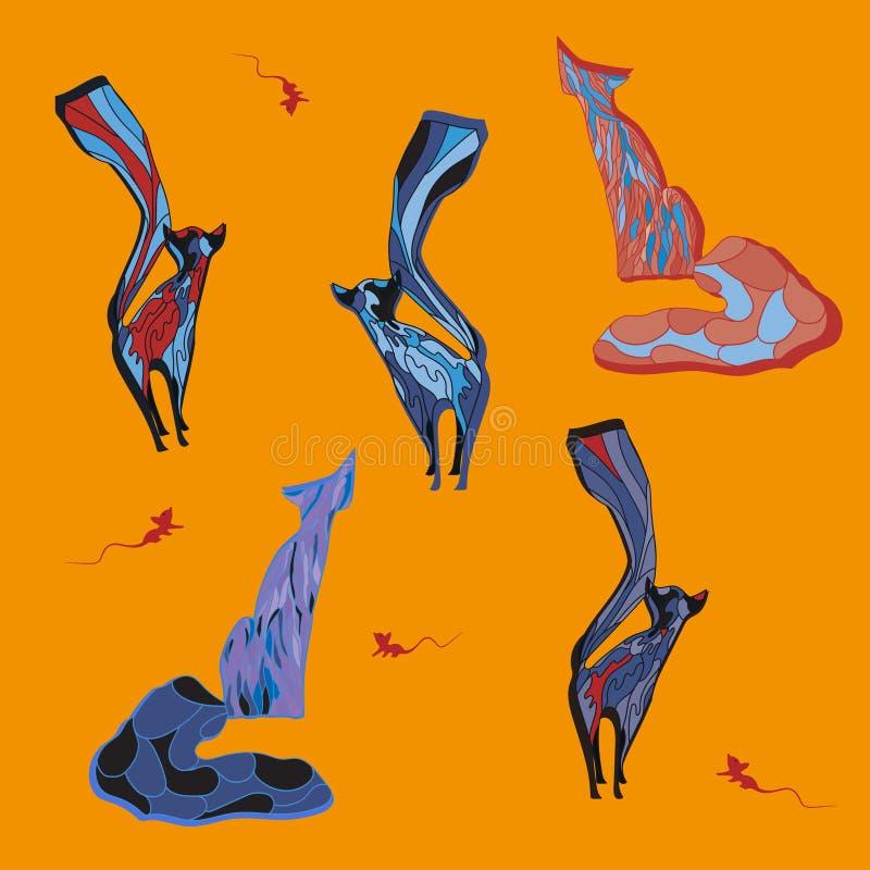 Fem vektorkatter på orange bakgrund med mouses royaltyfri illustrationer