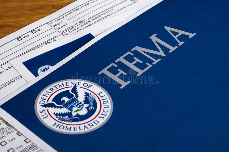 FEMA US Homeland Security Form. FEMA US Homeland Security Citizen and Immigration Services Flyer Closeup stock photography