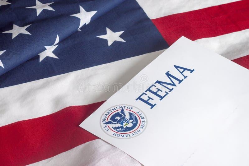 FEMA USA flaga i departament bezpieczeństwa krajowego zdjęcia stock