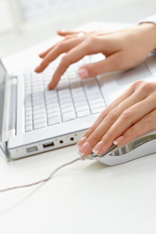 femal компьтер-книжка рук используя стоковое изображение