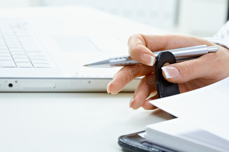 Download Femal Hand Turning Page Stock Photo - Image: 11267170