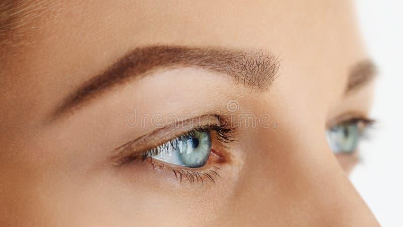 Femal stawia czoło z niebieskimi oczami bez makijażu obraz stock