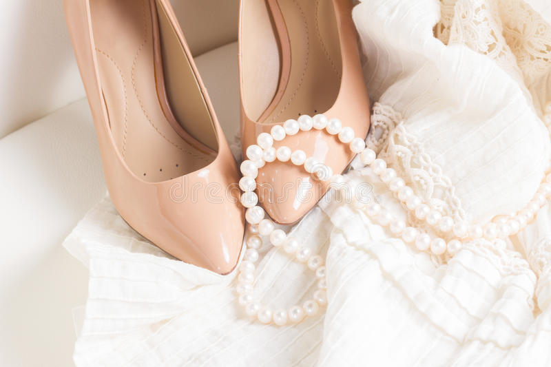 Female accessories on white royalty free stock photo