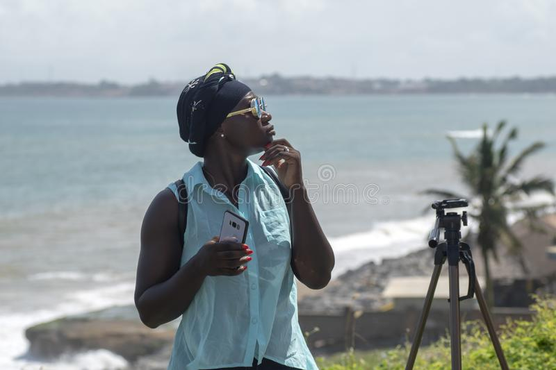 Female model from Accra is visiting Takoradi Ghana. Female from Accra is visiting Takoradi.Sekondi-Takoradi, a city that includes the twin cities of Sekondi and royalty free stock photos