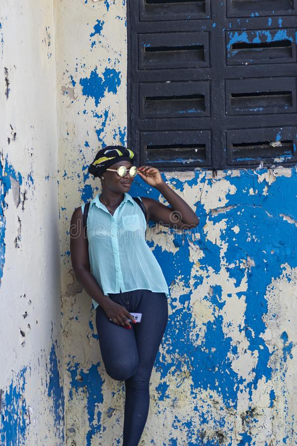 Female model from Accra is visiting Takoradi Ghana. Female from Accra is visiting Takoradi.Sekondi-Takoradi, a city that includes the twin cities of Sekondi and royalty free stock image