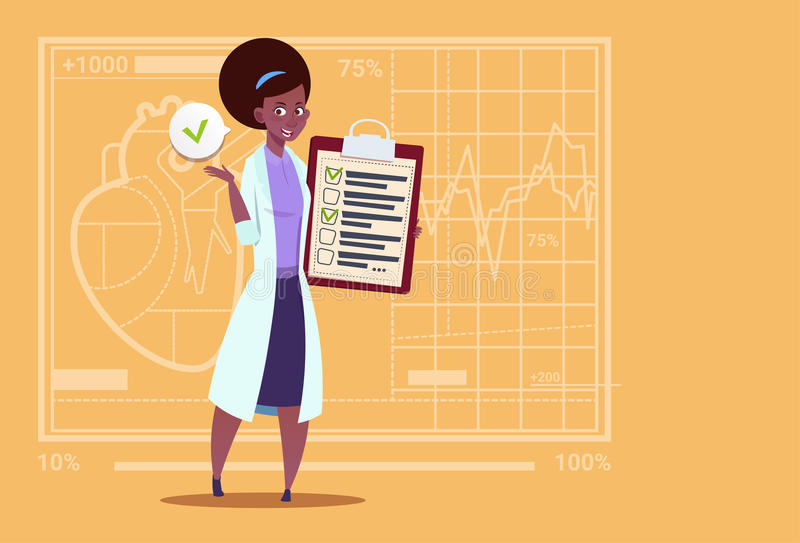 Female African American Doctor Holding Clipboard With Analysis Results And Diagnosis Medical Clinics Worker Hospital. Flat Vector Illustration stock illustration
