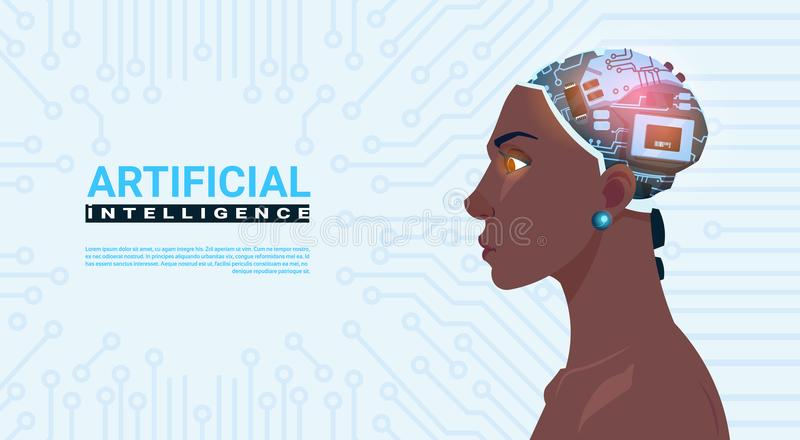 Female African American Head With Modern Cyborg Brain Over Circuit Motherboard Background Artificial Intelligence. Concept Vector Illustration stock illustration