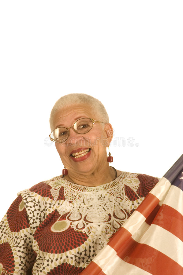 Female African American Patriot With Flag Stock Photo