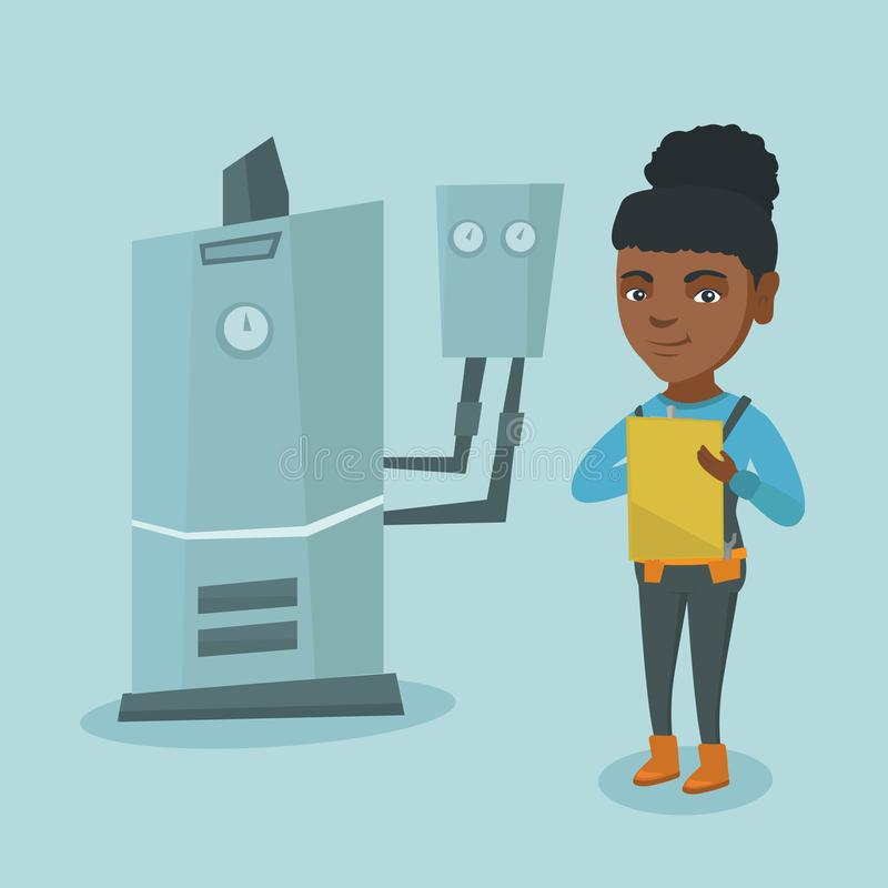 Young african plumber taking notes in clipboard. Female african-american plumber taking some notes in clipboard. Young plumber inspecting heating system in vector illustration