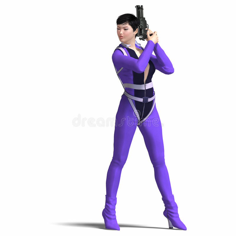 Female Agent Blue. Rendering of Female Action Agent with guns contains Clipping Path stock illustration