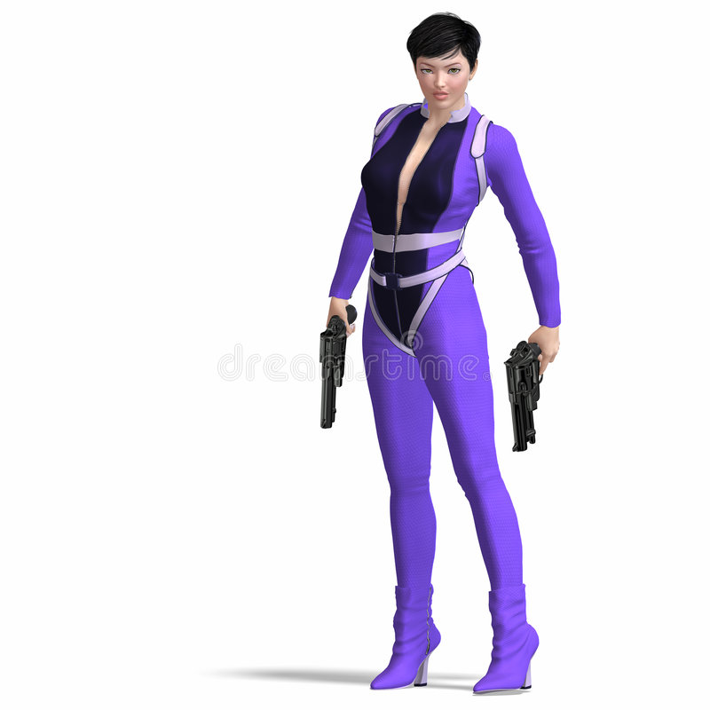 Female Agent Blue. Rendering of Female Action Agent with guns contains Clipping Path vector illustration
