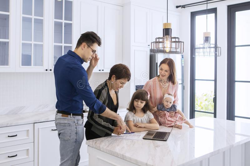 Female agent explains documents of renting contracts royalty free stock photos