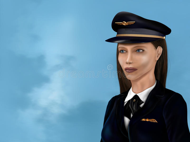 Download Female airline pilot stock illustration. Illustration of blue - 22679309