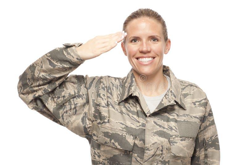 Female airman saluting stock images