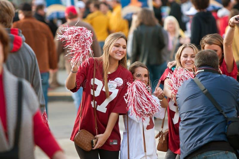 Female Alabama Fans Pose For Photo Outside Georgia Dome stock images