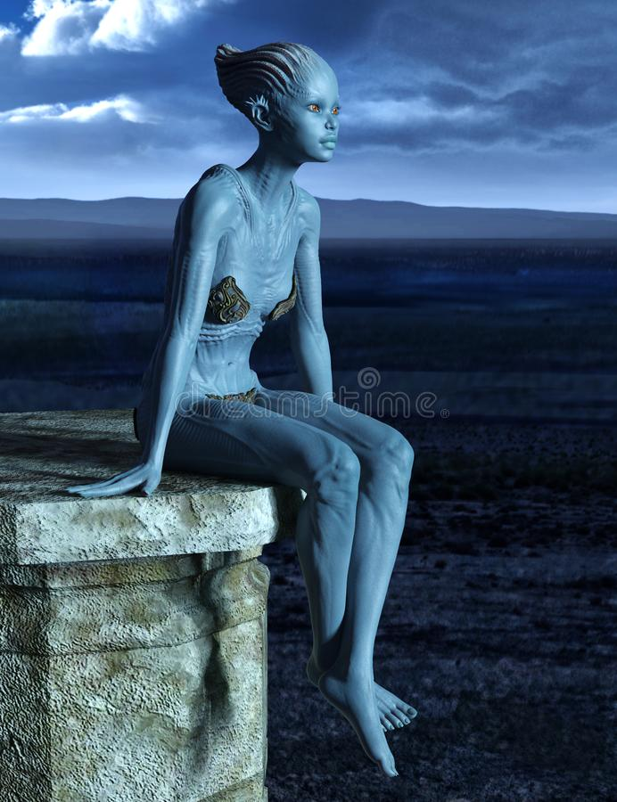 Female Alien creature sitting on a stone platform. On stormy night background 3d render stock image