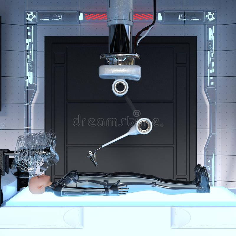 Female android. Image of a female android in the laboratory stock illustration