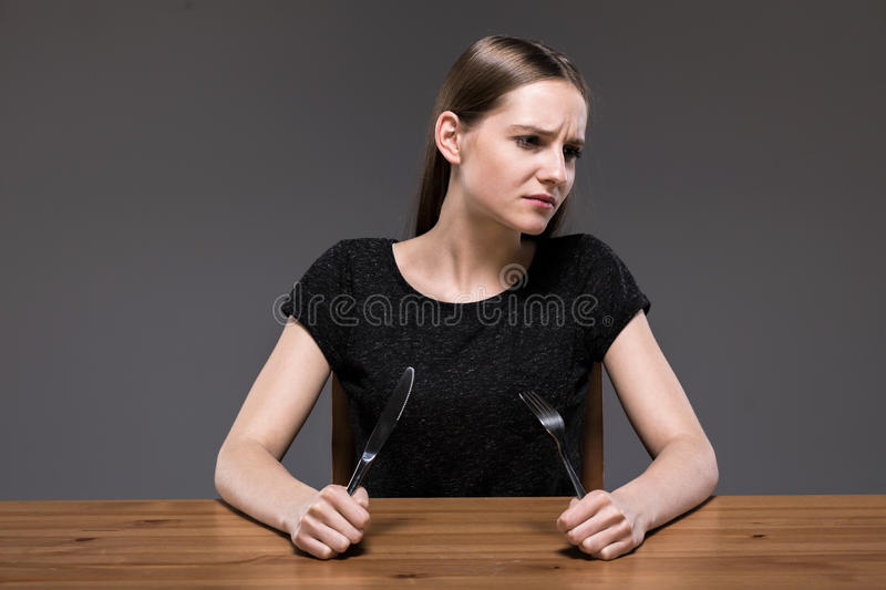 Female with anorexia starving royalty free stock images