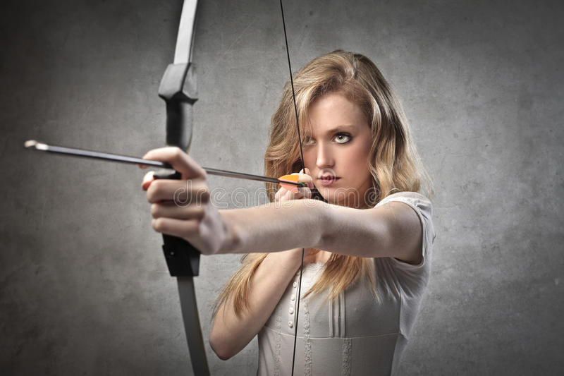 Download Female archer stock image. Image of portrait, young, blink - 25033297
