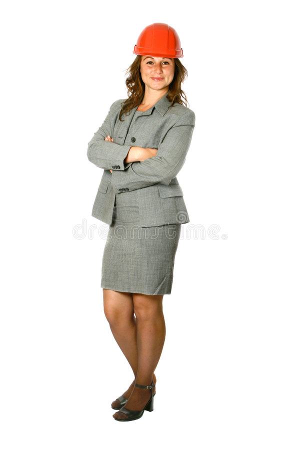 Female architect in gray suit royalty free stock images
