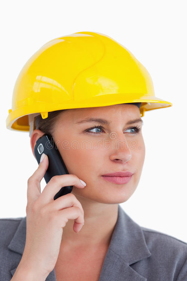 Download Female Architect On Her Cellphone With Helmet On Stock Image - Image: 23015171