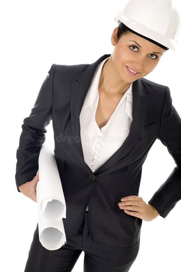 Download Female Architect Holding Blueprints Stock Photography - Image: 6938042
