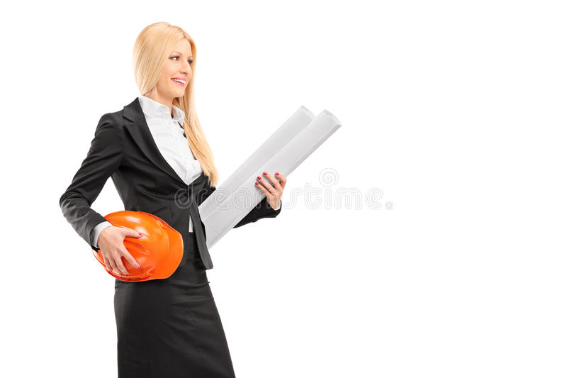 Download Female Architect Holding A Helmet And A Blueprint Stock Image - Image: 30184599