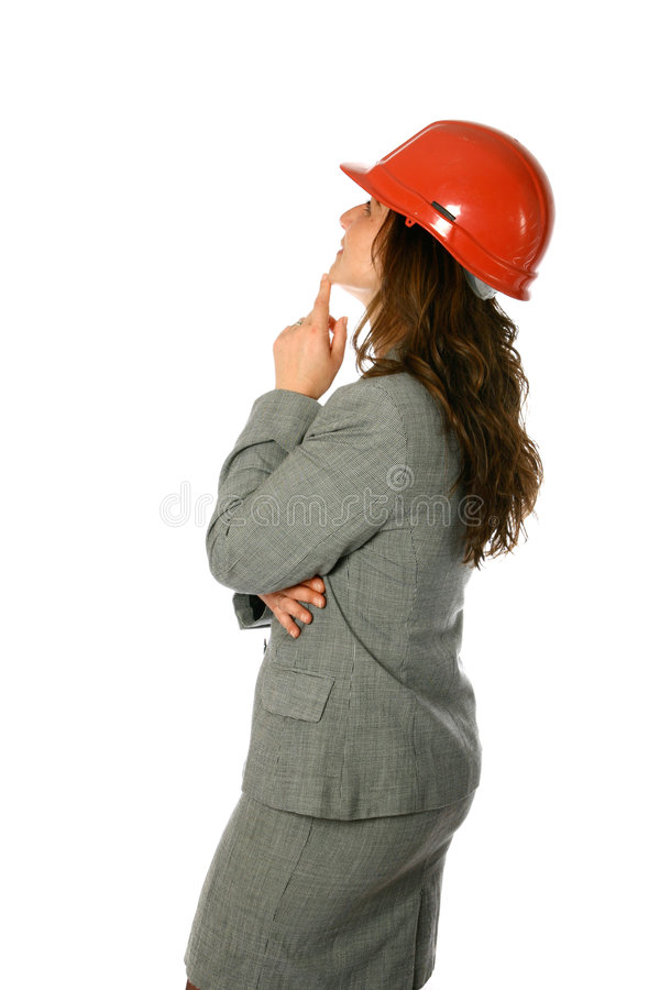 Female architect looking up royalty free stock image