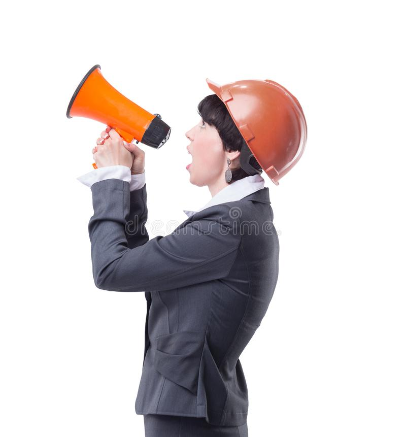 Female architect with a megaphone.isolated on light royalty free stock images