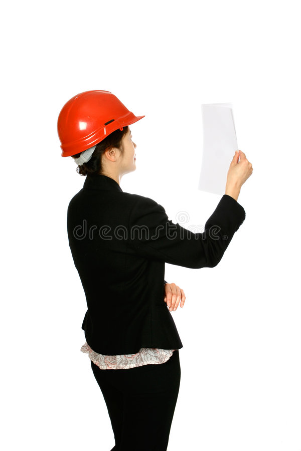 Female architect with notes stock photography