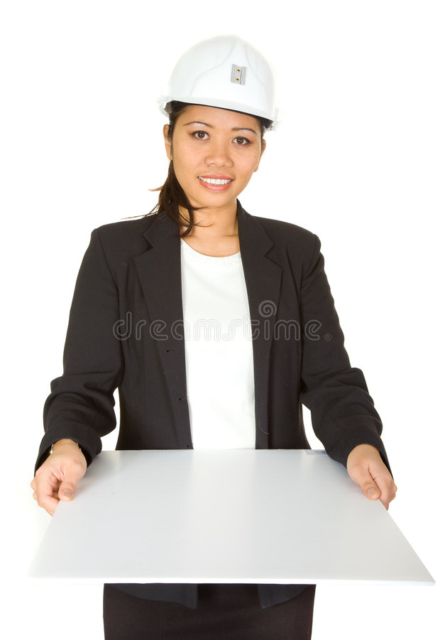 Female architect showing her p