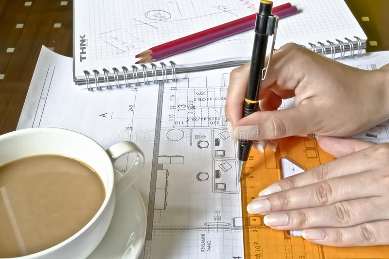 Download Female Architect at work stock image. Image of drafting - 22264899